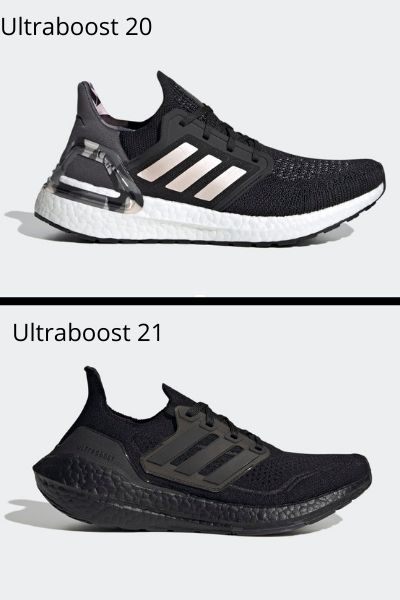 Adidas Ultraboost 20 (top) compared to Adidas Ultraboost 21 (bottom)